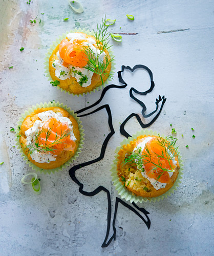 Finger food muffins with salmon and dill cream cheese