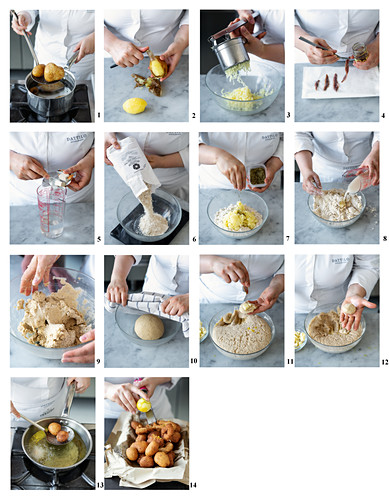 Crespelle fritte al caciocavallo (fried potato balls, Italy) being made
