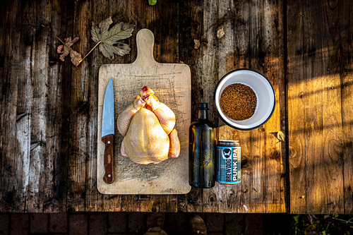 Ingredients for beer can chicken