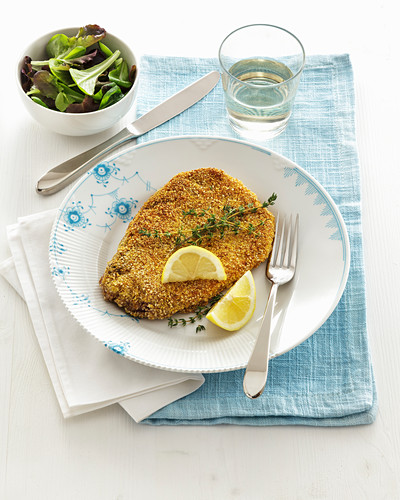 Pork collar escalope with a breadcrumb and sesame seed coating