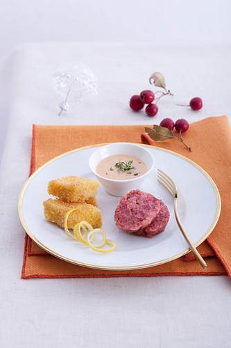 Cotechino with baked milk cream and Lambrusco zabaione