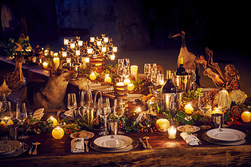 An opulent, festively laid table with animals sitting at it