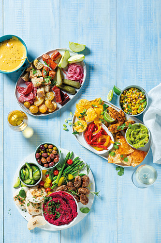 Global platters - German fondue, Mexican mixer platter and Mediterrean spread platter