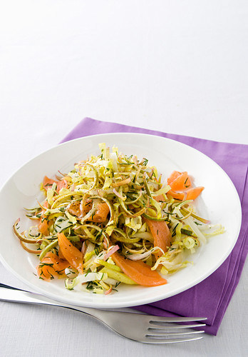 Artichoke and chicory salad with smoked salmon