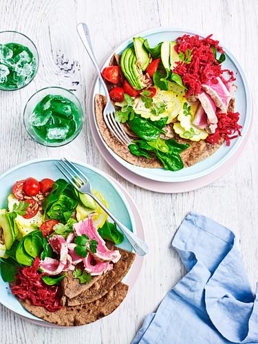 Tuna, Kimchi Salad and Avocado Teff Wraps