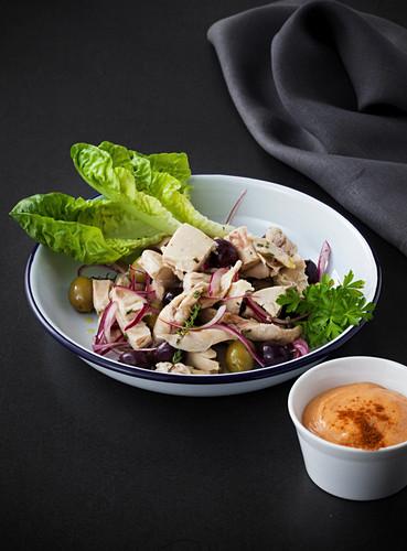 Mediterranean chicken salad with paprika mayonnaise