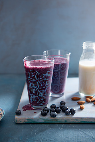 Blueberry and almond milk smoothie