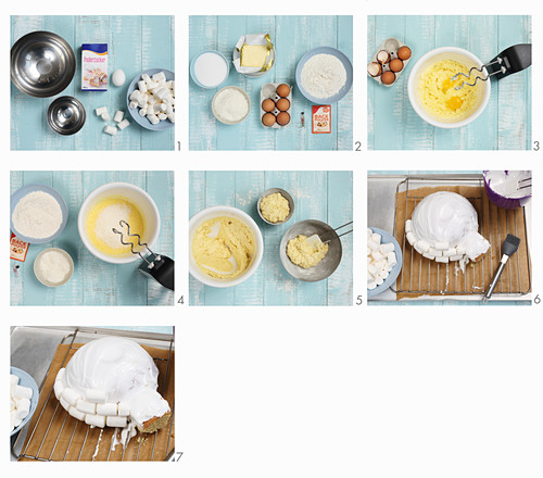 How to make igloo cake with marshmallows