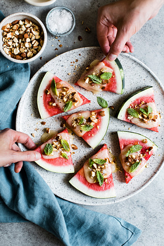 Cheese and watermelon canapes