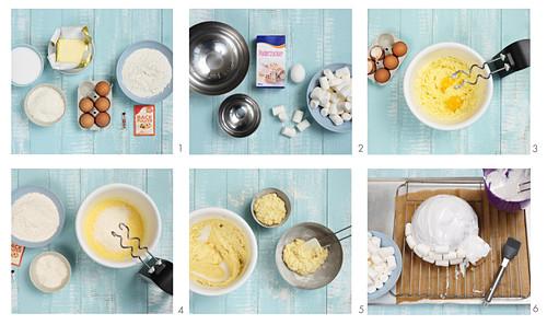 Preparing an igloo cake with marshmallows