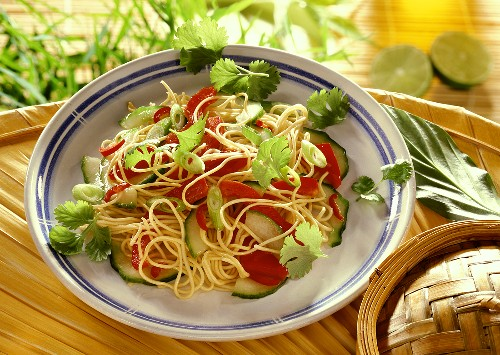 Asian noodle salad with cucumber, peppers, coriander