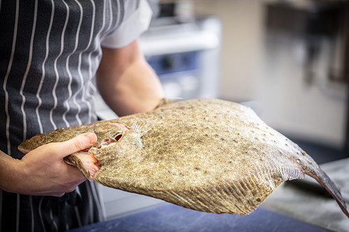 A chef presenting a turbot