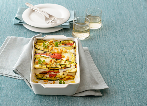 Grilled vegetable and mozzarella bake