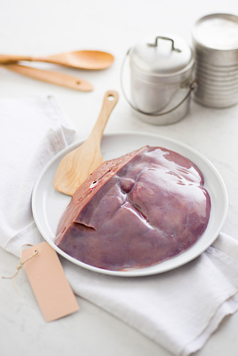Slice of raw veal liver