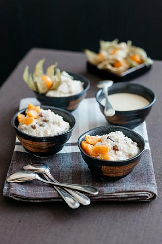 Cardamom and quinoa pudding with vanilla and coffee sauce
