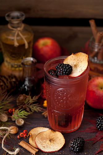 Apple and blackberry gin and tonic drink