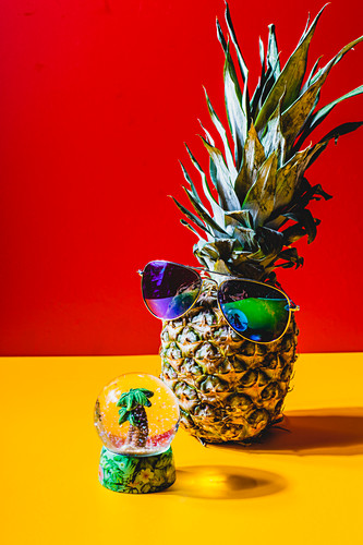 Pineapple with sunglasses in front of a snow globe with a mini palm tree