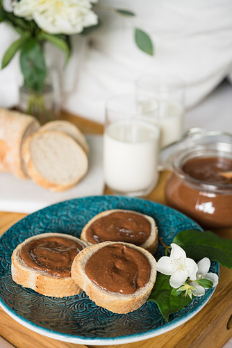 Homemade chocolate and nut spread for breakfast