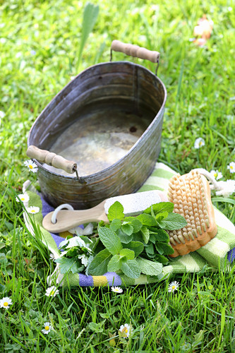 Mugwort and peppermint foot bath to detoxify and promote circulation