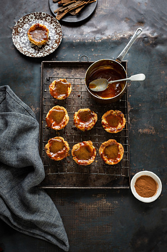 Custard tarts with caramel topping