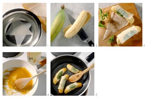Making baked bananas in rice paper