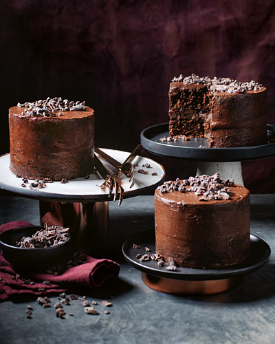 Chocolate, pear, ginger and coconut cakes