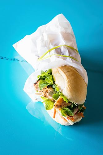 Bánh Mi (baguette with chicken and gherkins, Vietnam)
