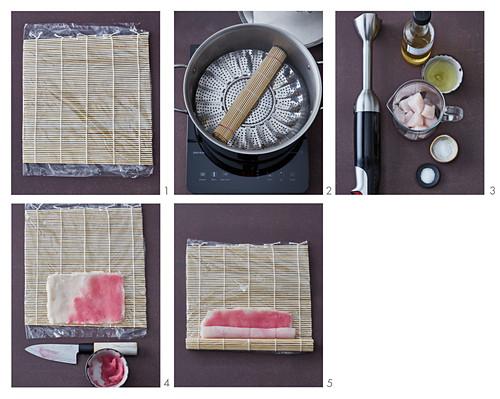 Narutomaki (fish rolls) being made