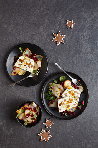 Gingerbread parfait with a pear and pomegranate salad