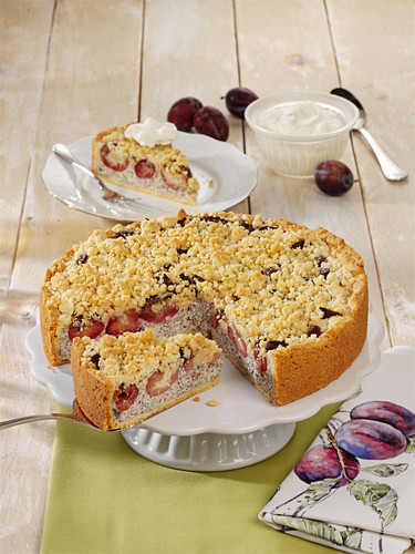 Poppy seed and plum cake