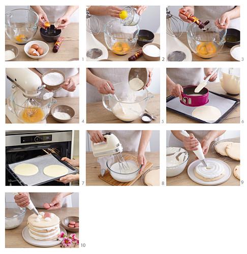 Preparing shortbread spring cake from casket dough