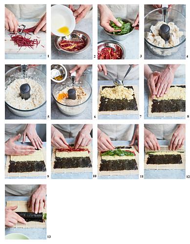 Sushi mit Kurkuma-Blumenkohlreis zubereiten