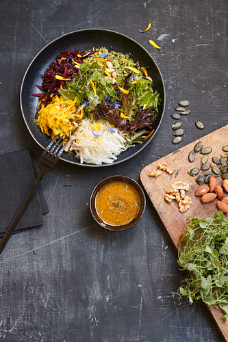 Veggie bowl with root vegetables and pumpkin rice