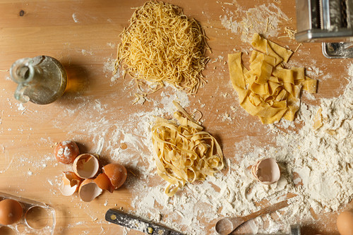 Raw different types of pasta