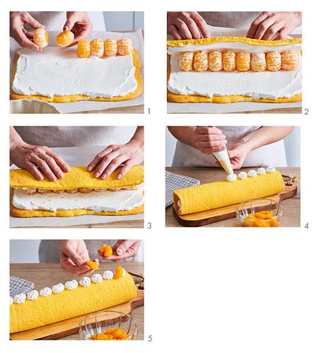 Preparing sweet tangerine roll