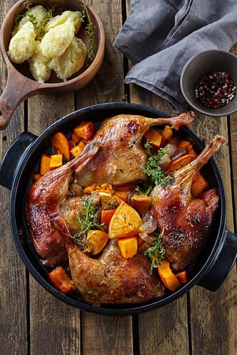 Duck legs with pumpkin, oranges and potato gnocchi