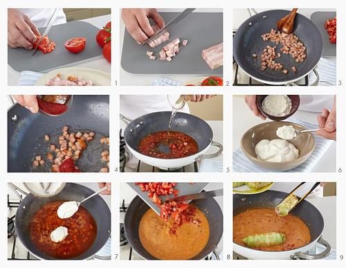 Preparing stuffed cabbage rolls with tomato sauce