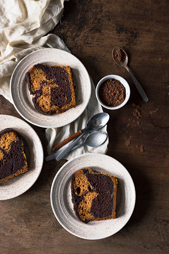 Slices of a pumpkin and chocolate pound cake