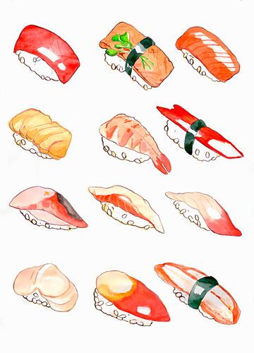 Nigiri sushi (illustration)