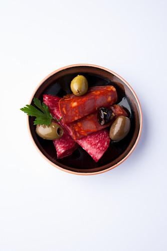 Chorizo and olive tapas