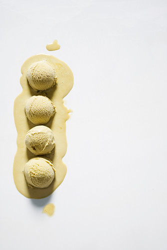 Four balls of hazelnut ice cream
