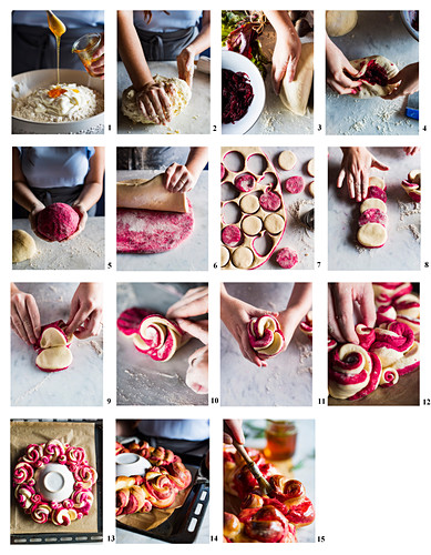 How to prepare a beetroot bread wreath