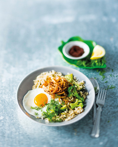 Middle Eastern broccoli rice with fried eggs