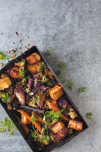 Roasted vegetables with coriander leaves