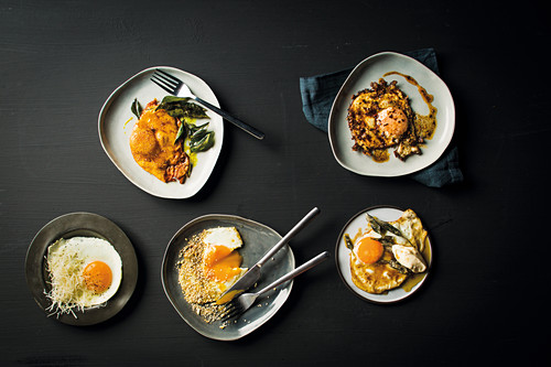 Fried eggs with curry butter, hot paprika, burnt sage butter and garlic mayo