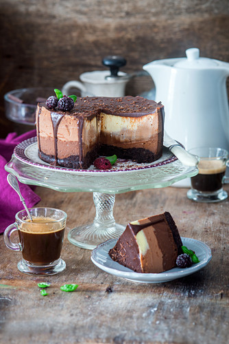Chocolate cheesecake with different kind of chocolate