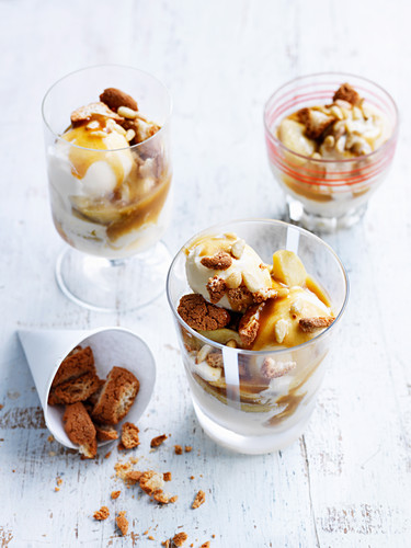 Salted Caramel and Apple Ice-Cream Sundaes