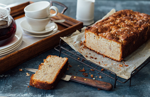 Banana cake topped with pearled sugar