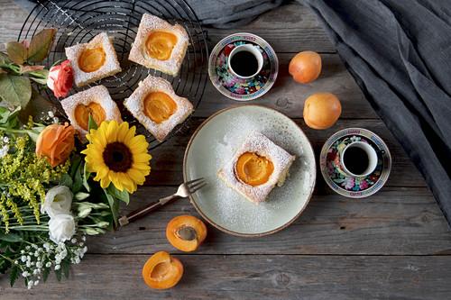Apricot tray bake cake with espresso