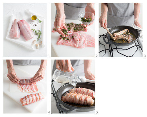 Saddle of rabbit wrapped in bacon being made